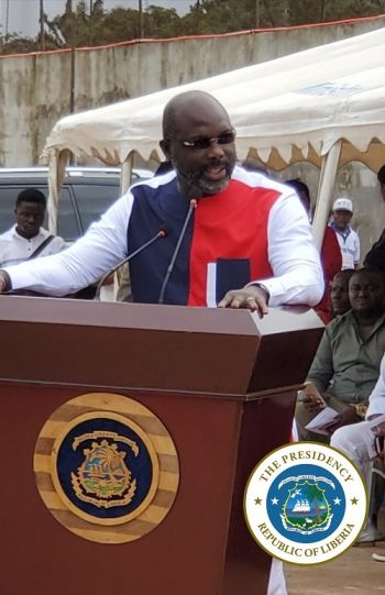 President Weah speaking at the ceremony