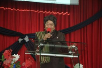 President Sirleaf speaking during  Thanksgiving Service at Philadelphia Central Church