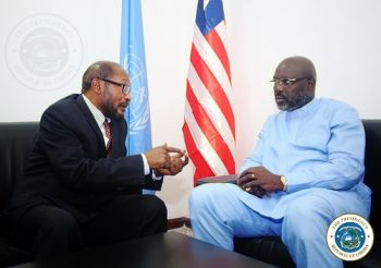 R-L: President Weah and the UN Resident Country Director