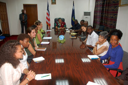 Visiting students and President Sirleaf at the Foreign Ministry in Monrovia.