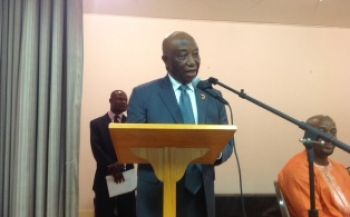 Vice President Boakai addresses the Town Hall Meeting in the Washington D.C. area during his official visit to the USA.