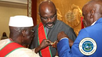 President Weah being decorated