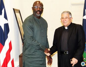 President Weah greets visiting Bishop from Lebanon