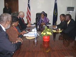 Pres.Sirleaf in a meeting with members of the congressional delegation at the Ministry of Foreign Affairs