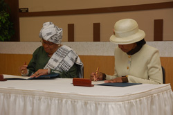 President Ellen Johnson Sirleaf and Langston University President, Dr. JoAnn W. Haysbert, in Langston, Oklahoma City.