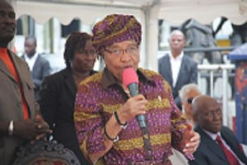 President Sirleaf speaking during reopening ceremony.
