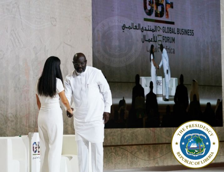CNN Africa's Correspondent Eleni Giokos welcomes President George Manneh Weah on stage for interactive discussion at the Global Business Forum Africa 2019 in Dubai