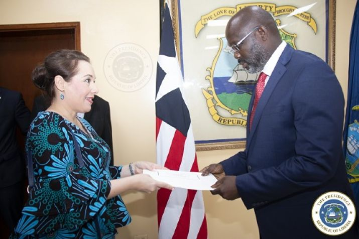 Polish Ambassador Mrs. Joanna Tarnawska presents her letter of Credence to President Dr. George Manneh Weah
