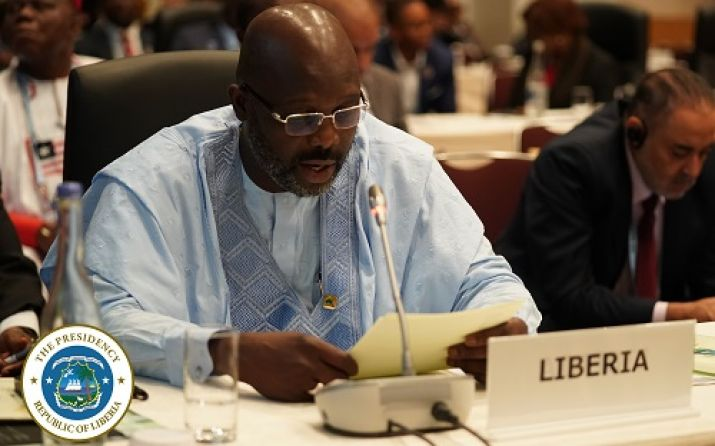 President George Manneh Weah speaking at the plenary session of TICAD 7 in Yokohama