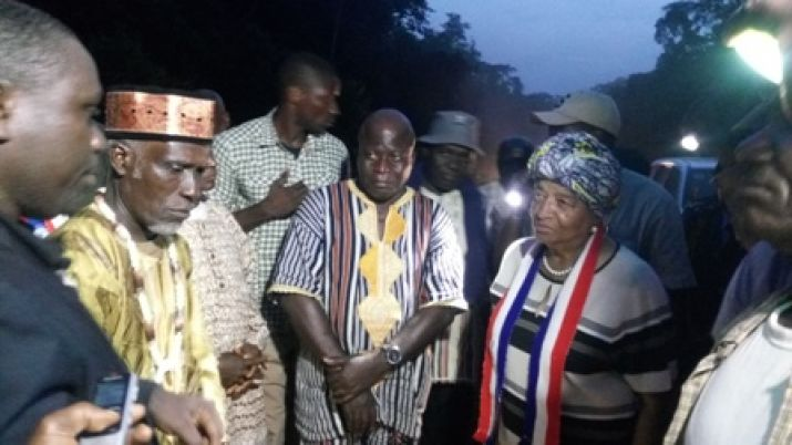 President Sirleaf arrives in River Gee County.