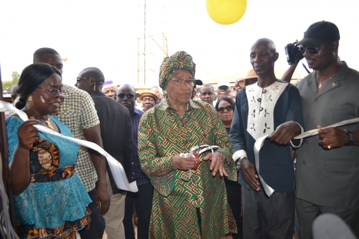 President Sirleaf Dedicates Saclepae City Hall; Lauds Citizens for Keeping the Peace.