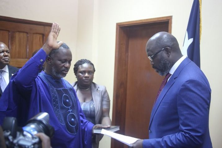 President Weah administers Oath of Office to the Minister of State for Presidential Affairs - McGill