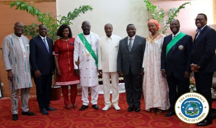 President Weah and First Lady Clar pose with Independence's Day Guests of honor including the Presidents of Bukina Faso, Senegal, Guinea, Sierra Leone, Ivory Coast and AfDB President Adesina