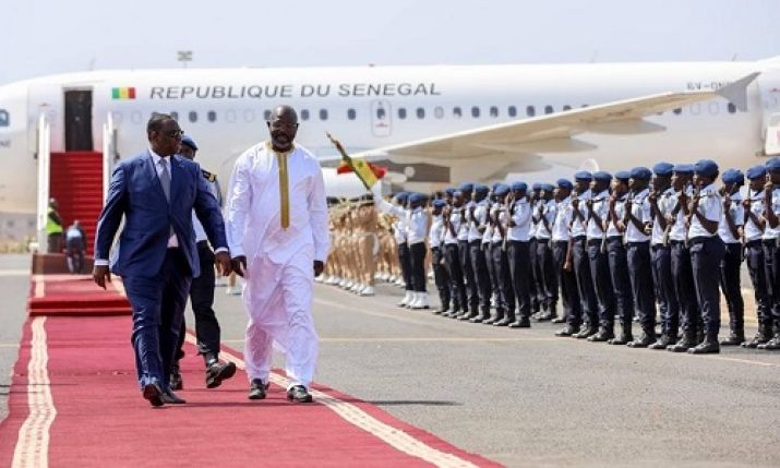 President Weah and his Senegalese counterpart, H. E. Sall inspect guard of honor