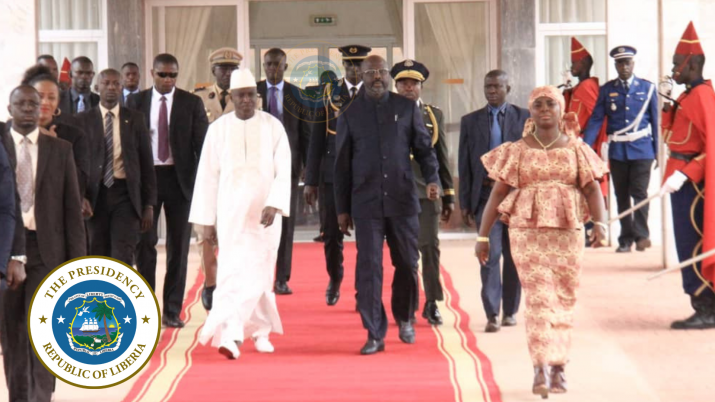 President Weah and Senegal Prime Minister walk on the red carpet towards the aircraft as the Liberian Delegation departs Dakar
