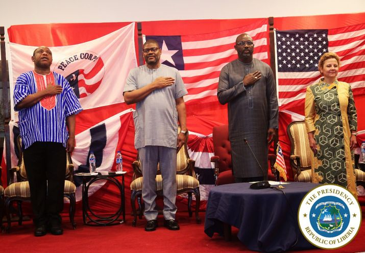 President Weah and US Ambassador honor the national anthem along with his Foreign and Finance Ministers