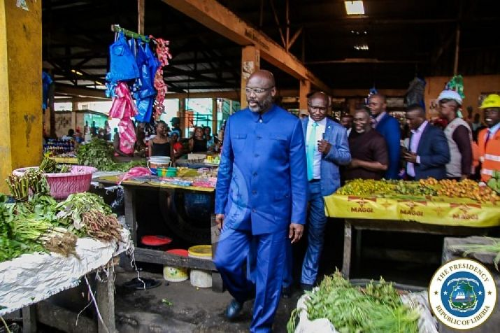 President Weah inspecting the Old Road market