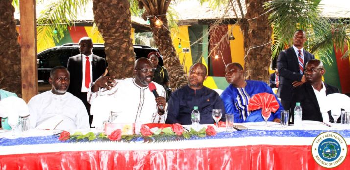 President Weah making a point at the meeting with Liberians from the Diaspora