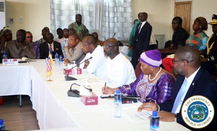 President Weah making remarks at  the Government of Liberia forum with political parties leaders