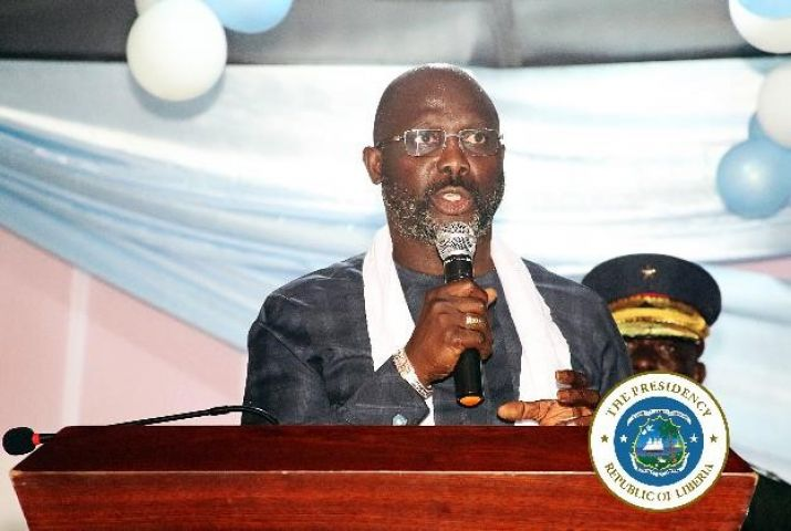 President Weah making remarks at the Peace Festival held in Buchanan
