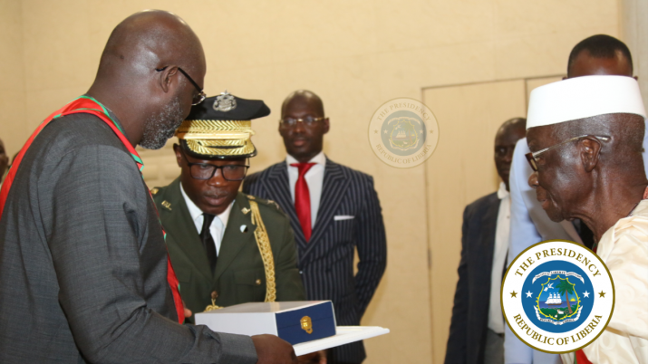 President Weah receiving the highest honor of the Republic of Guinea