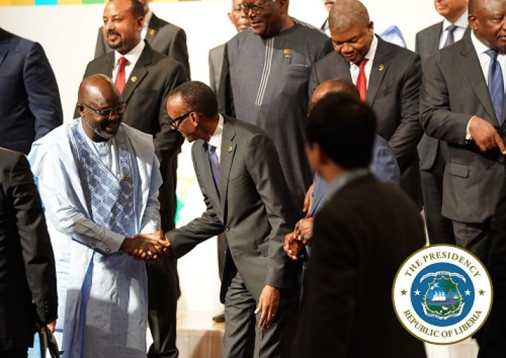 President Weah shakes hands with Rwandan President Paul Kigame before the photo session at the opening of TICAD 7 in Yokohama