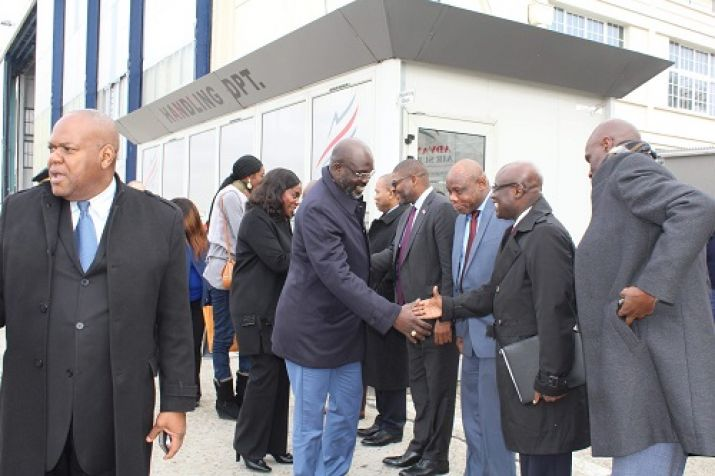 President Weah welcomed by members of the official Liberian delegation in Paris France