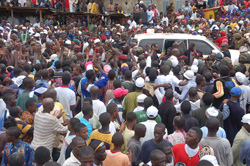 Jubilant residents turn out in the Guinean town of Gueckedou.