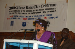 President Sirleaf Speaking at the Human Rights Day Celebration held at the Monrovia City Hall.