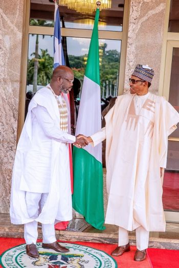 President Buhari Meets and Greets the Liberian Leader, H.E. Dr. George Manneh Weah at the State House in Abuja, Nigeria
